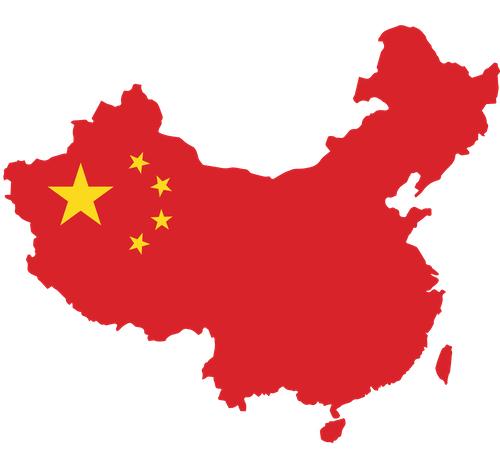 Chinese flag overlaid the geographic outline of China
