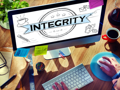 """The word """"INTEGRITY"""" on a computer screen"""