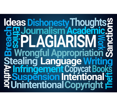 A wordcloud around the concept of 'PLAGIARISM'