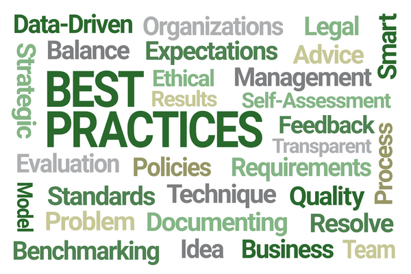 Wordcloud around the concept of 'BEST PRACTICE'