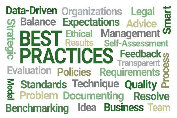 Wordcloud around the concept of 'BEST PRACTICE'