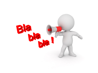"""A 3d figure holding up a megaphone and saying """"Blah blah"""""""