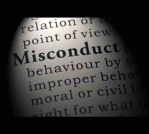 "Tunnel vision on the word ""Misconduct"""