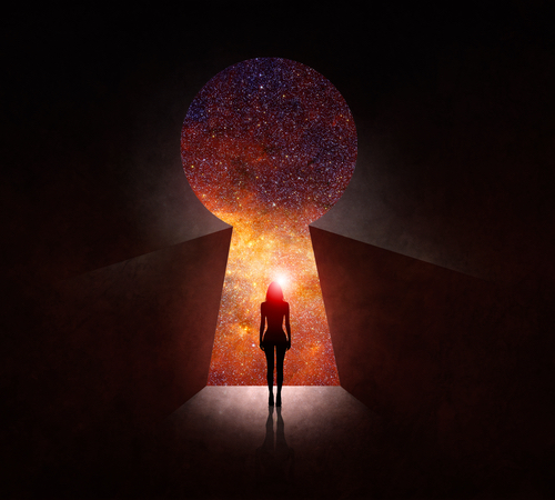 Through a keyhole we see a solitary female figure stares out into the cosmos