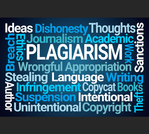 """Wordcloud around the concept of """"PLAGIARISM"""""""