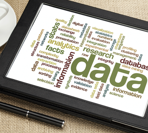 """Wordcloud around """"data"""" viewed on a tablet computer"""