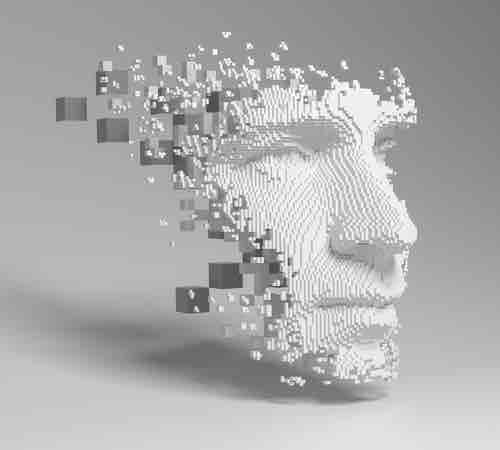 A compiling digital face, representing AI