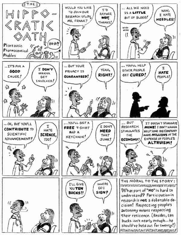 A funny cartoon about debating a no answer from a potential research participant