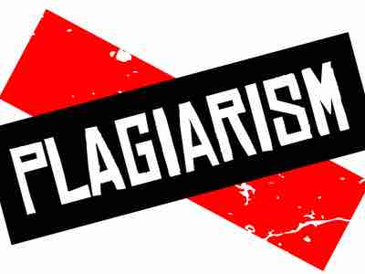 """The word """"PLAGIARISM"""" written across a black overlapping red rectangles"""