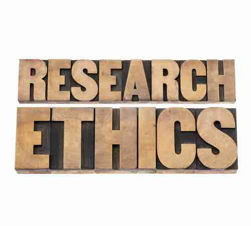 "The words ""RESEARCH ETHICS"" in wooden printing blocks"