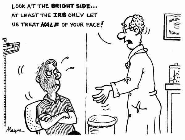A funny cartoon about a researcher poorly consoling a participant