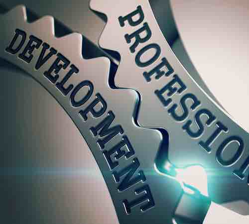 """Metal cogs stamped with the words """"professional development'"""