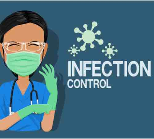 "Graphic of a clinician in scrubs with the words ""INFECTION CONTROL"" with falling COVID-19 icons"