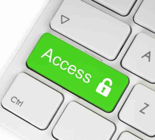 """Keyboard with a coloured key with the word """"Access"""" and a padlock icon marked across it"""