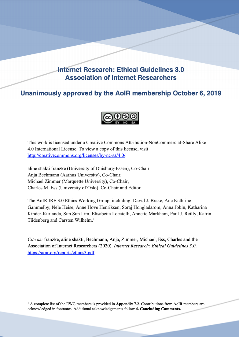 The cover of Bechmann, A and Zevenbergen, B (2020) AI and Machine Learning: Internet Research Ethics Guidelines, IRE 3.0 Companion 6.1, Association of Internet Researchers