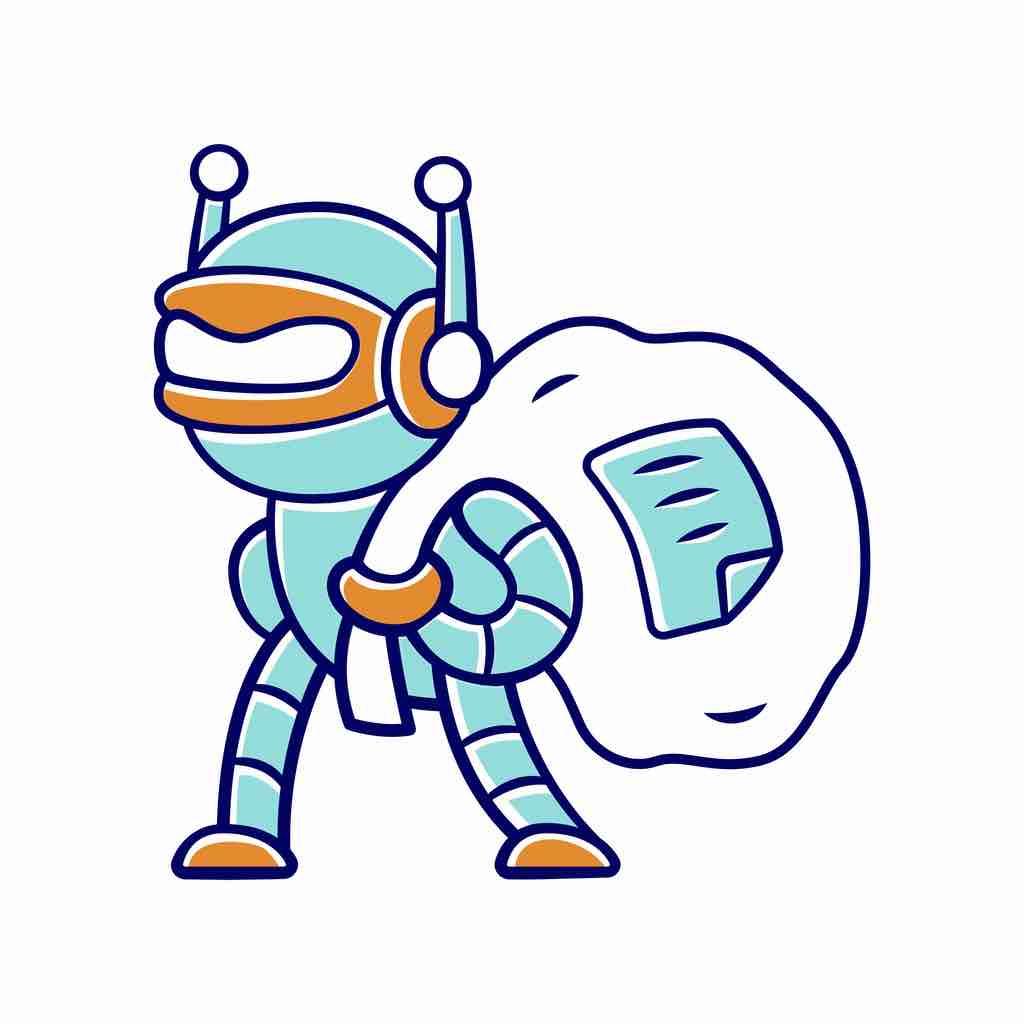 A cartoon of a robot carrying off a bag of data.