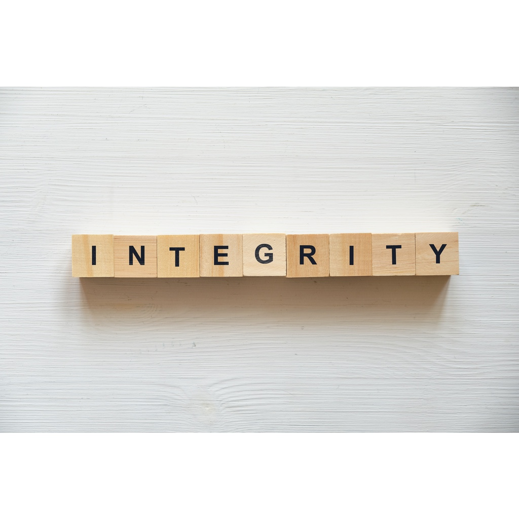 """Blocks with the word """"INTEGRITY"""" written across them"""