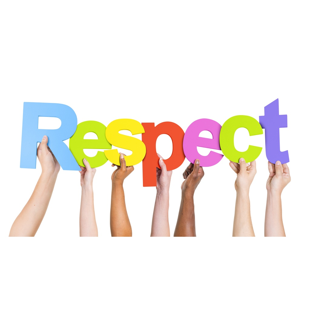 """A multiracial group of hands holding up the letters of the word """"Respect"""""""