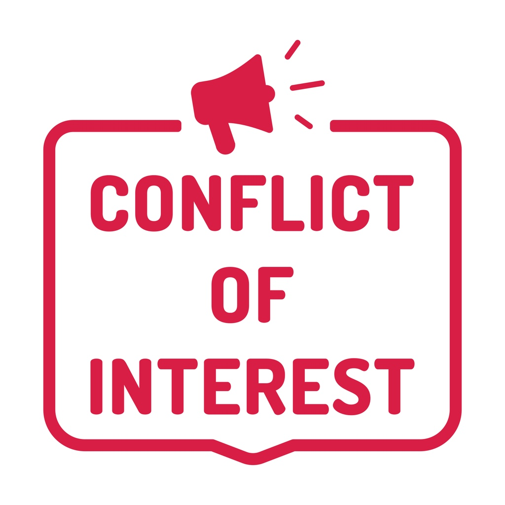 """A sign with the words """"CONFLICT OF INTEREST"""" with a speaker with broadcast lines emanating from it"""