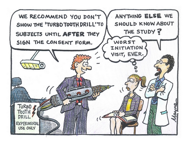 A funny cartoon about withholding information from potential participants until they consent