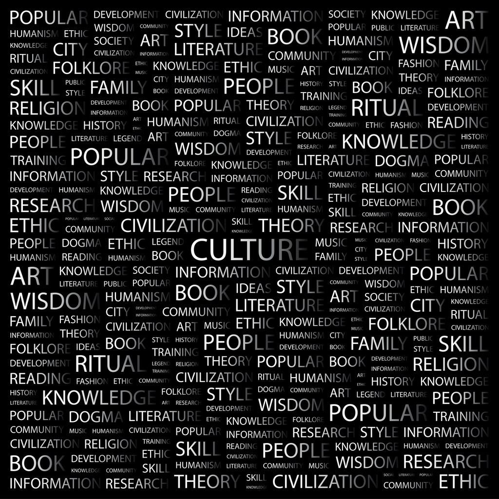 A collection of words about culture on a black background