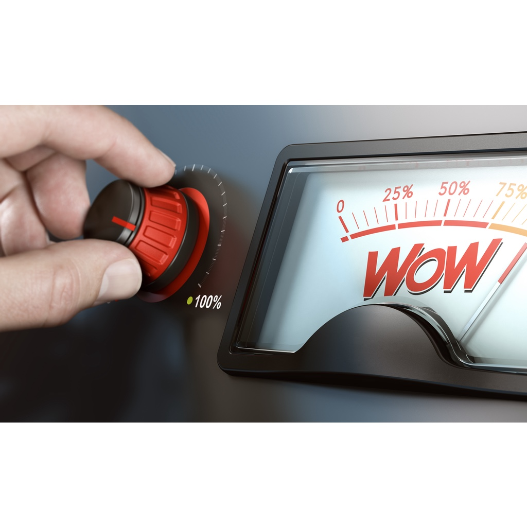 """The word """"WOW!"""" seen on a readout with a hand turning up the knob"""