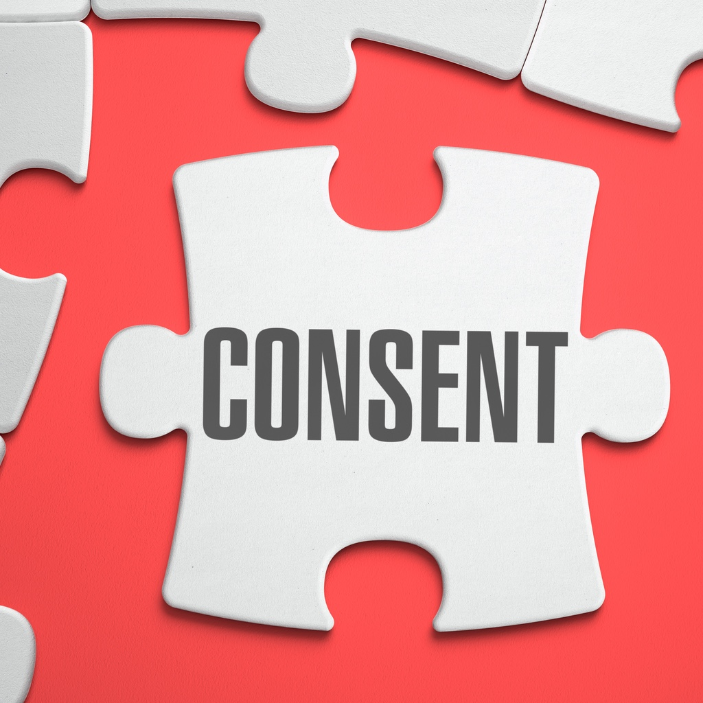 "The word ""CONSENT"" on a separated jigsaw piece"