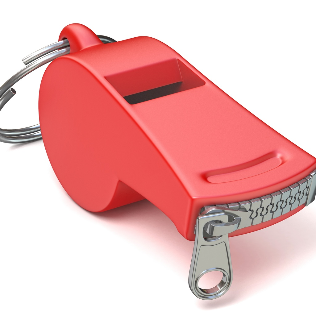 A whistle with a zipper sealed mouthpiece.