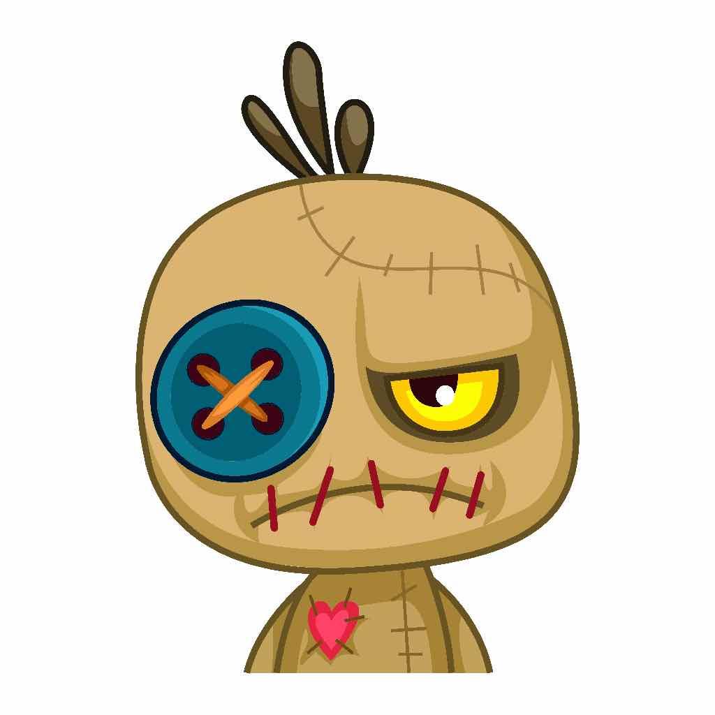 Cartoon of an unhappy voodoo doll