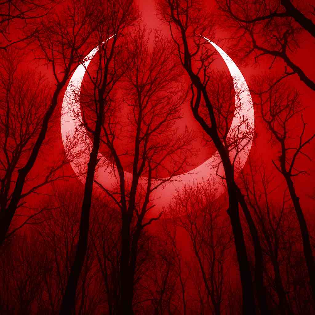 A forest seen through a blood red filter, with a curse glyph across the sky