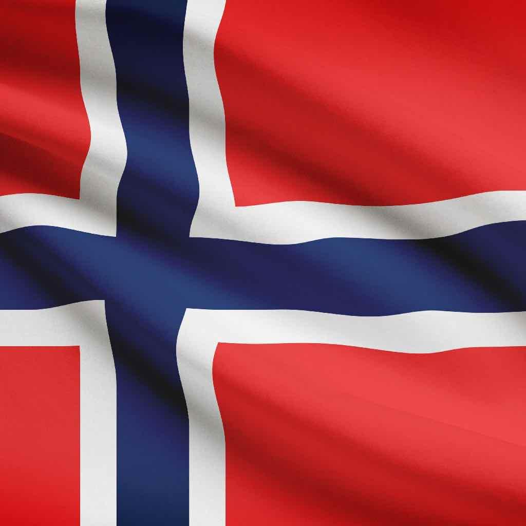 Norwegian flag blowing in the wind.