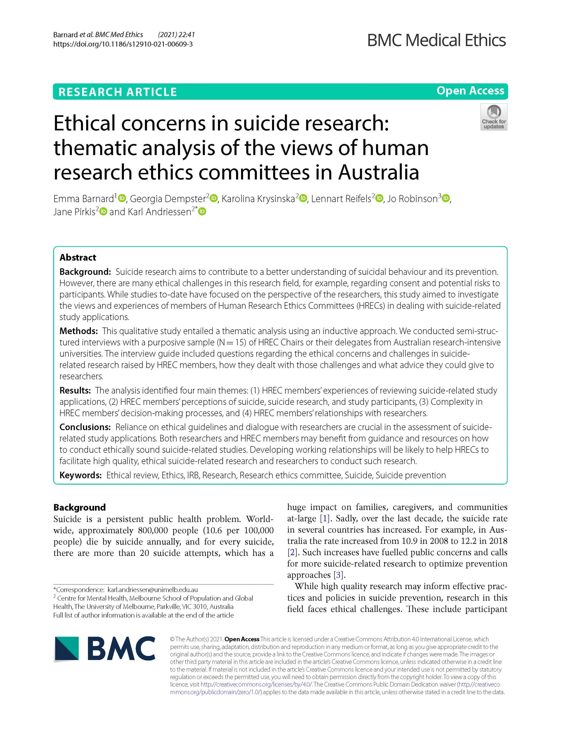 First page of paper about suicide research and HRECs