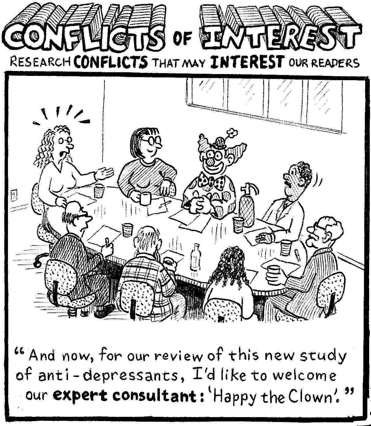 A funny cartoon about a clown advisor, during the review by a research ethics committee