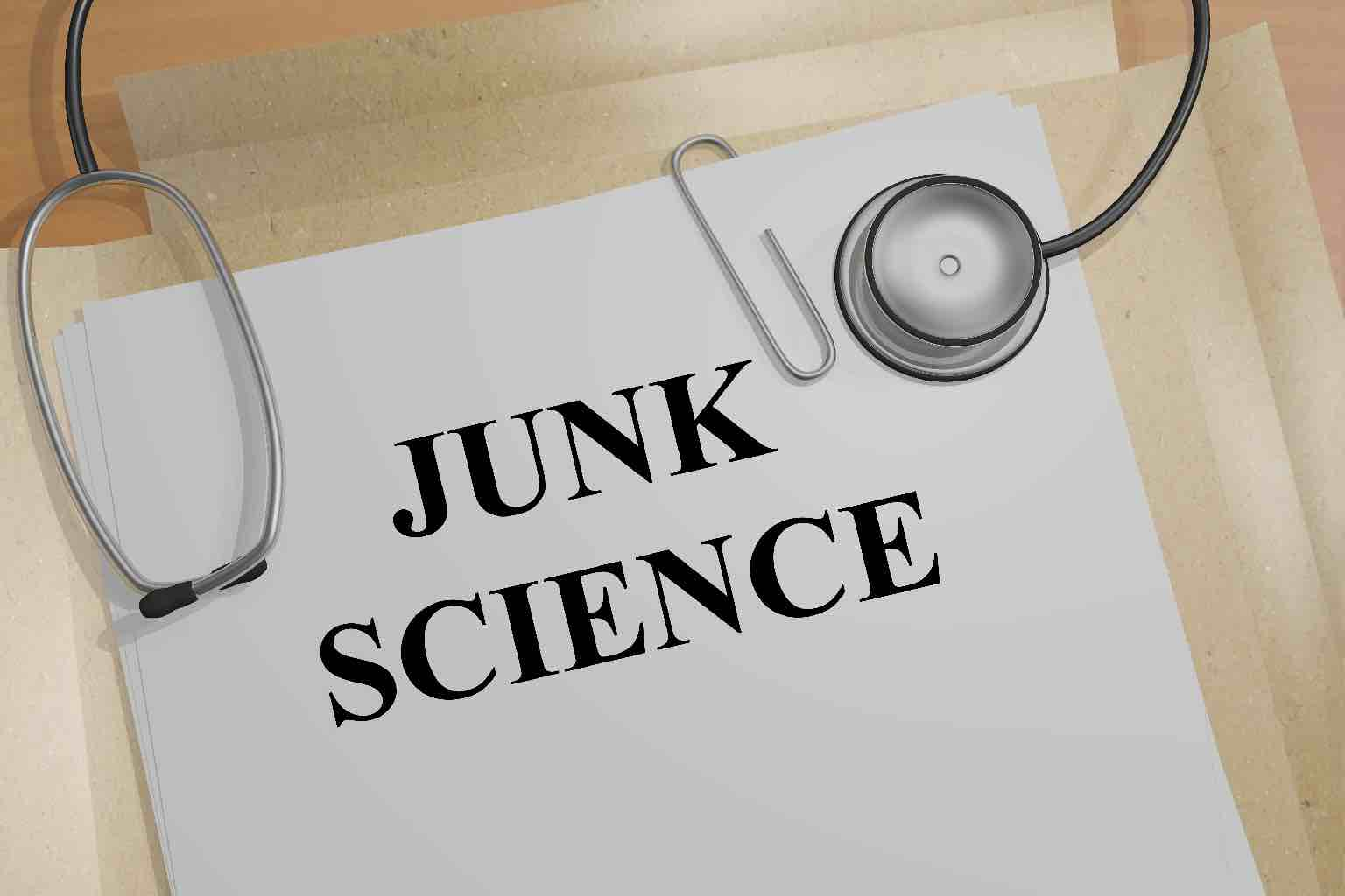 """A 3D illustration of """"JUNK SCIENCE"""" title on a medical document"""