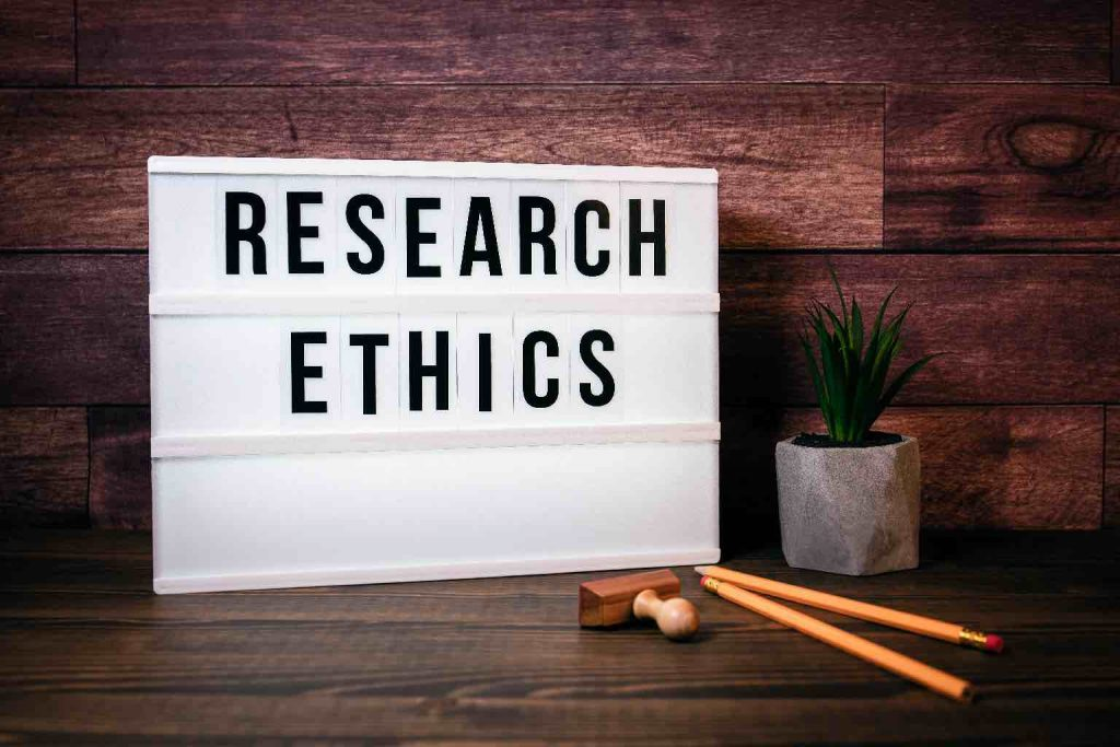 """The words""""RESEARCH ETHICS"""" on a sign"""
