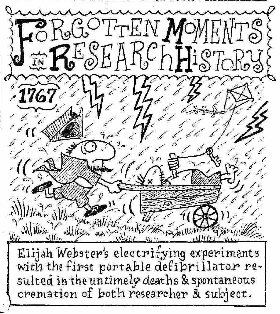 A funny cartoon of a researcher pushing a dead body in a wheelbarrow through a lightning storm, while flying a kite with a metal key