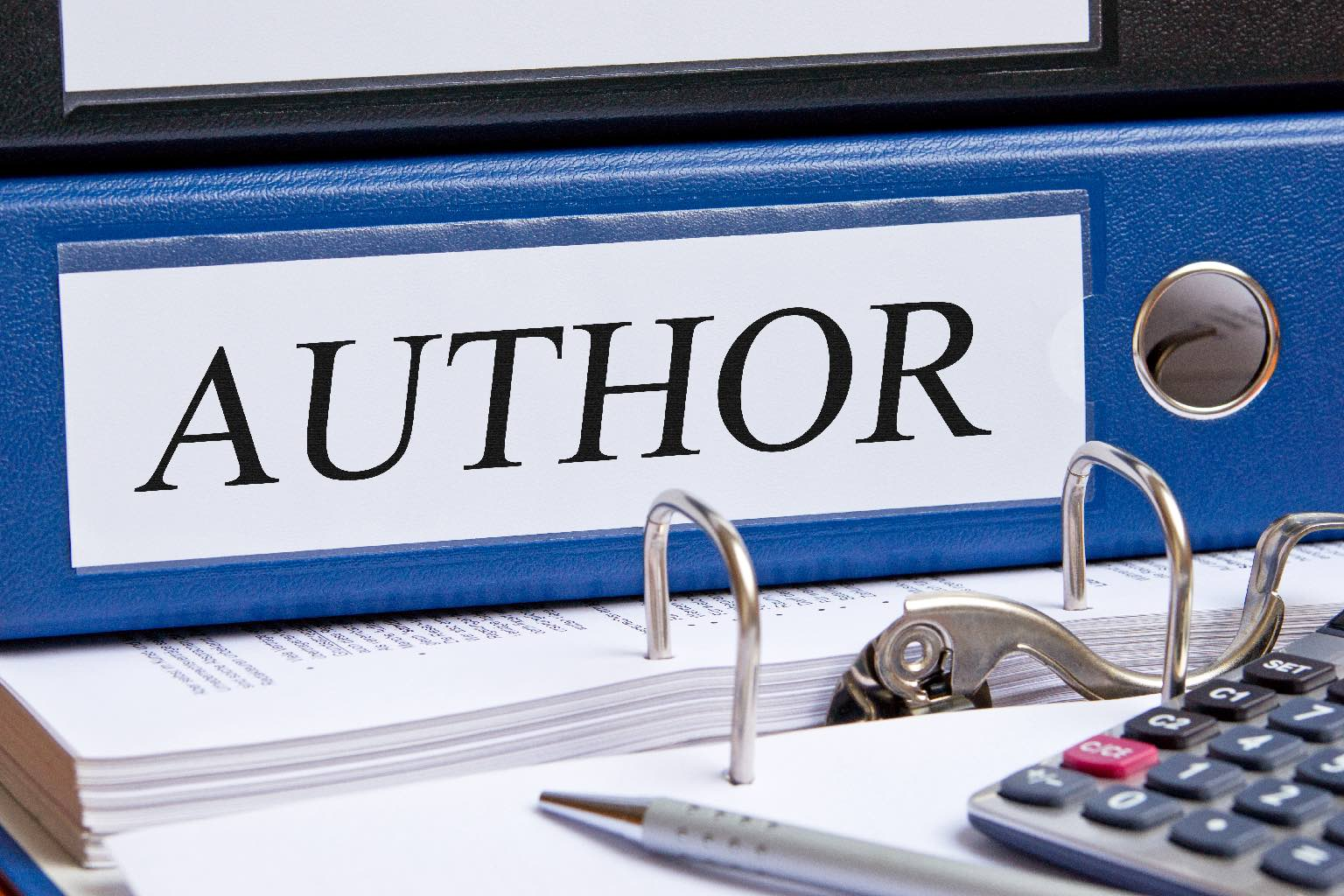 Author - blue binder in the office