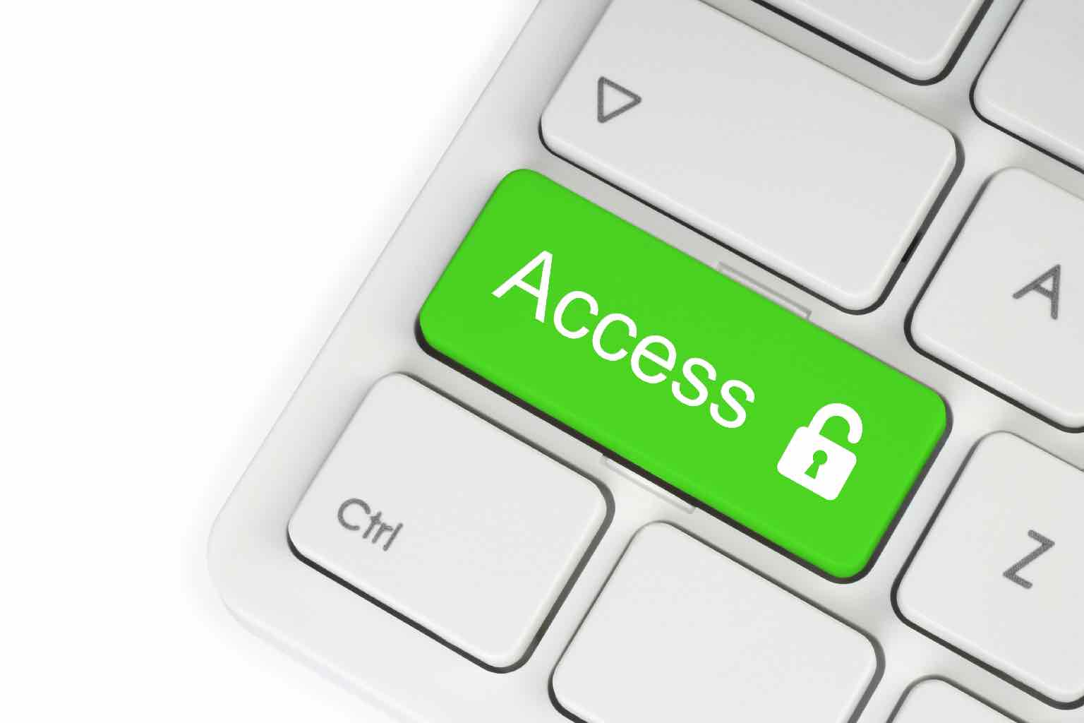 Open lock green button on the keyboard, access concept