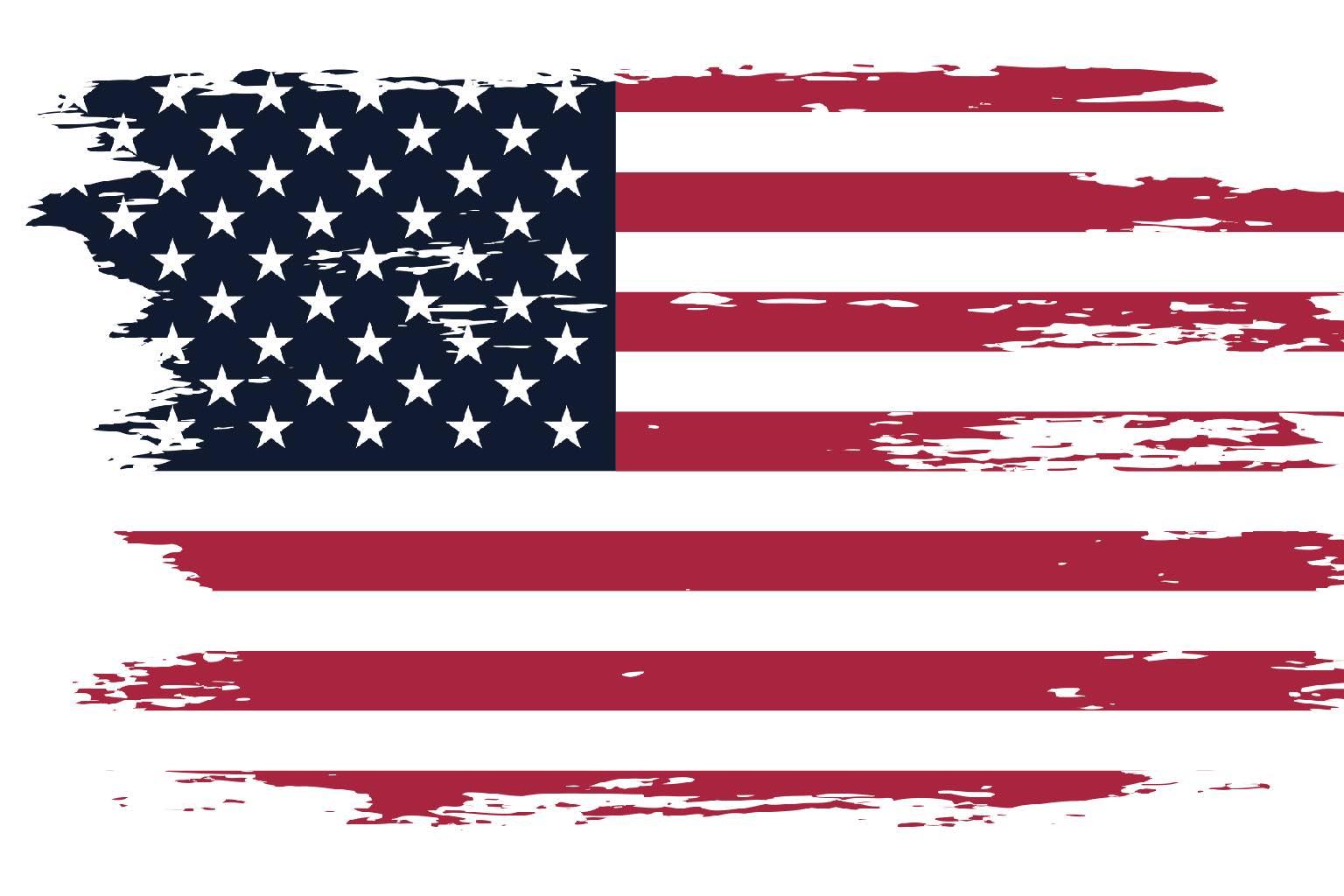 Artistically worn US flag
