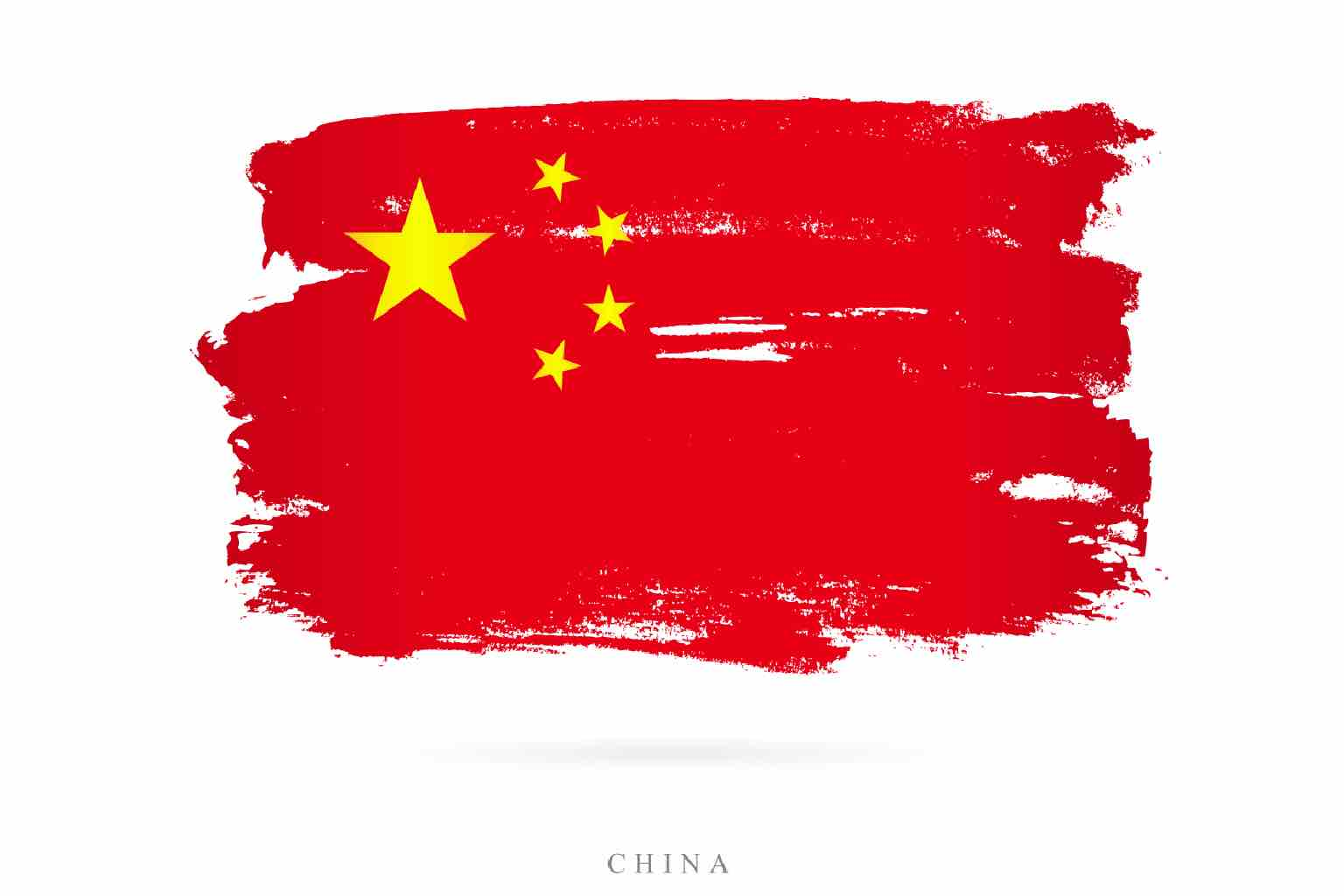 Artistically stressed Chinese flag