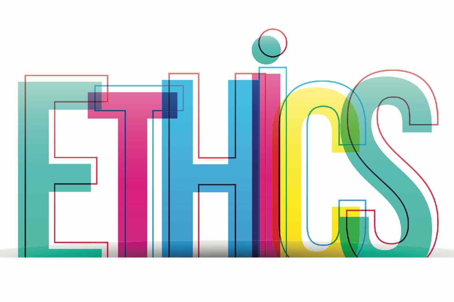 """The word, """"ETHICS"""" written with different colour letters and a loose outline"""