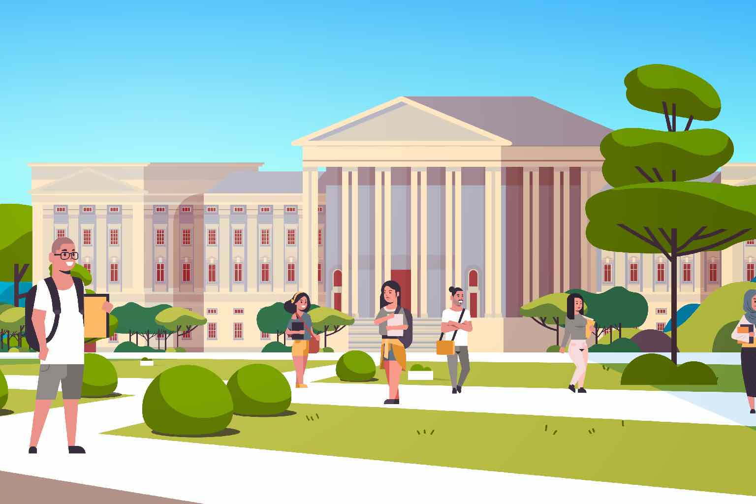 Cartoon of concept of a university building
