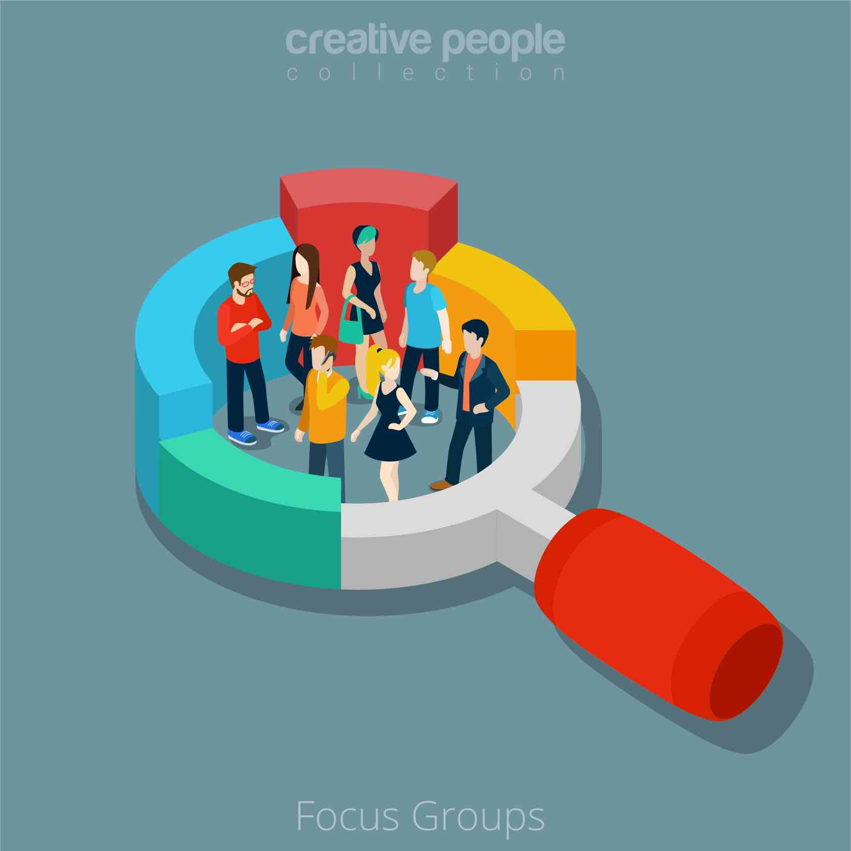 Cartoon of as group of creative people within the frame of a magnifying glass.