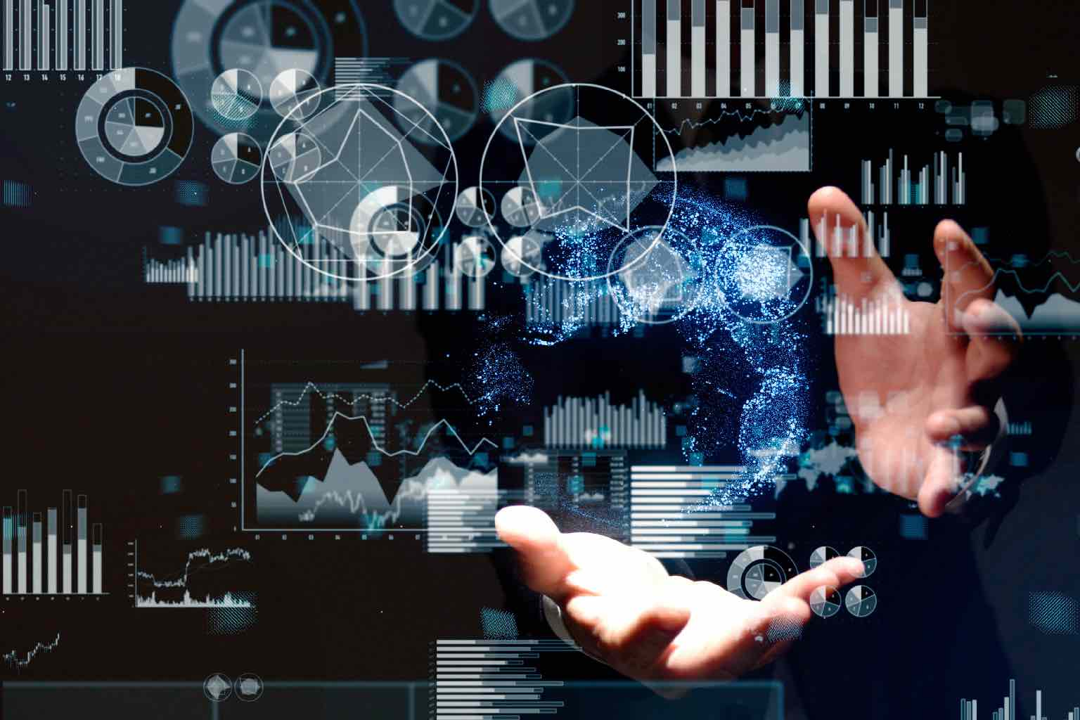 Science technology concept. Scientist's open hands manipulating augment reality data readout.