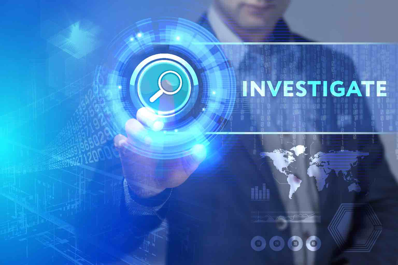 """Picture of a man tapping of a button tagged with the word """"INVESTIGATE"""" from the other side of a screen"""