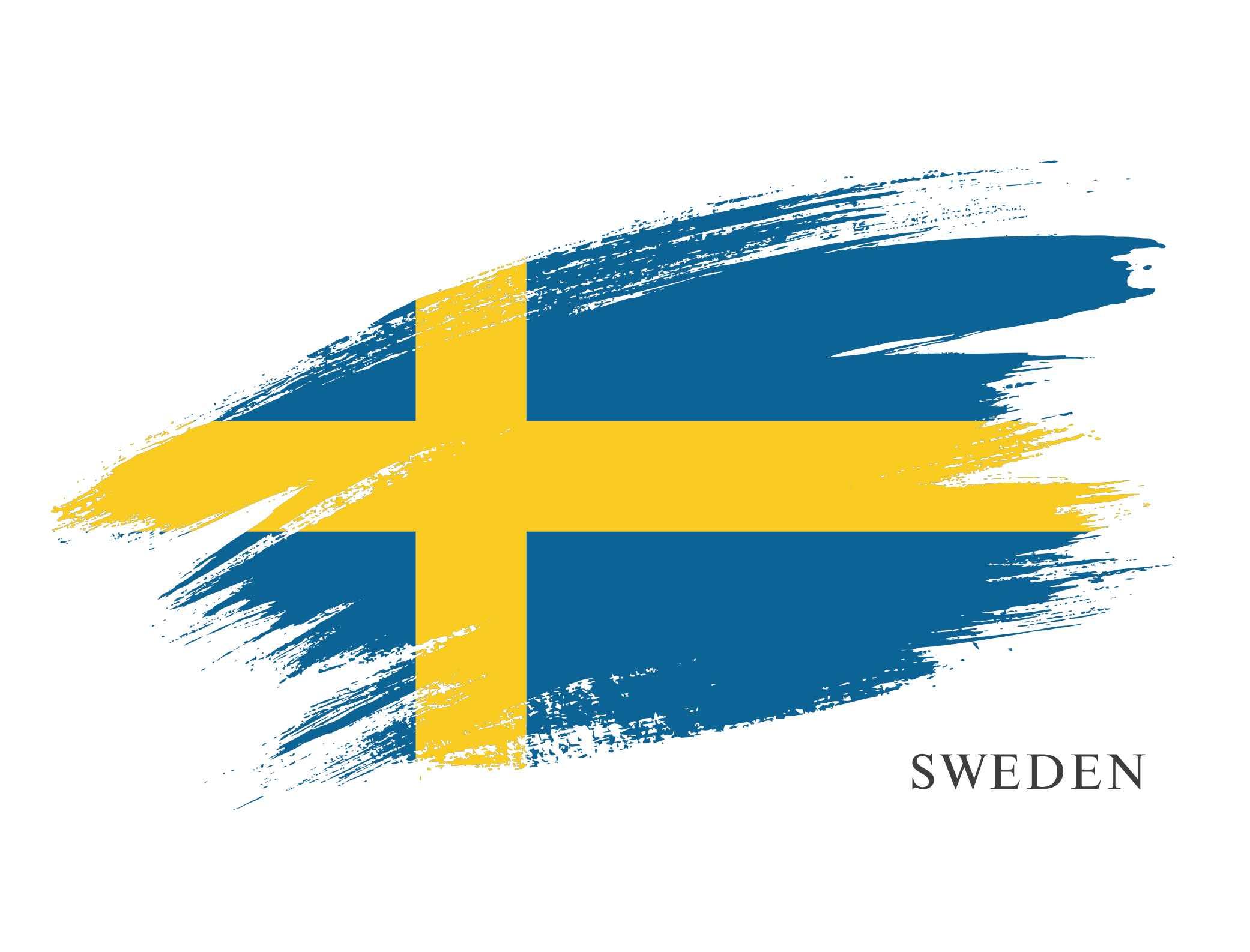 Artistic rendering of the flag of Sweden