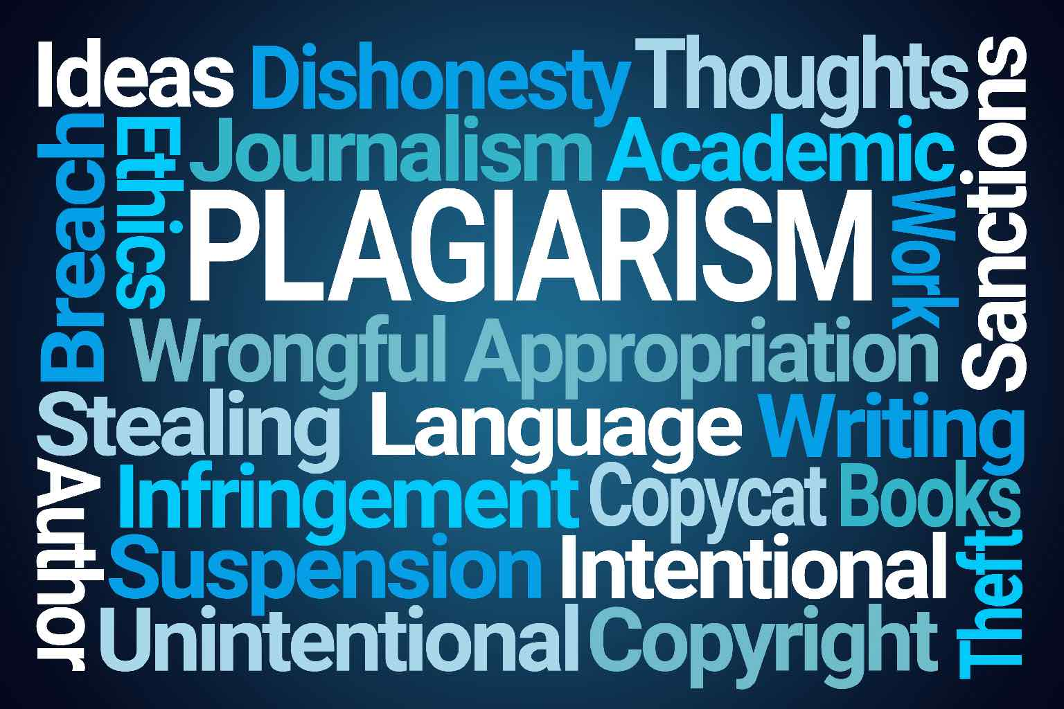 """A wordcloud around the term """"PLAGIARISM"""""""