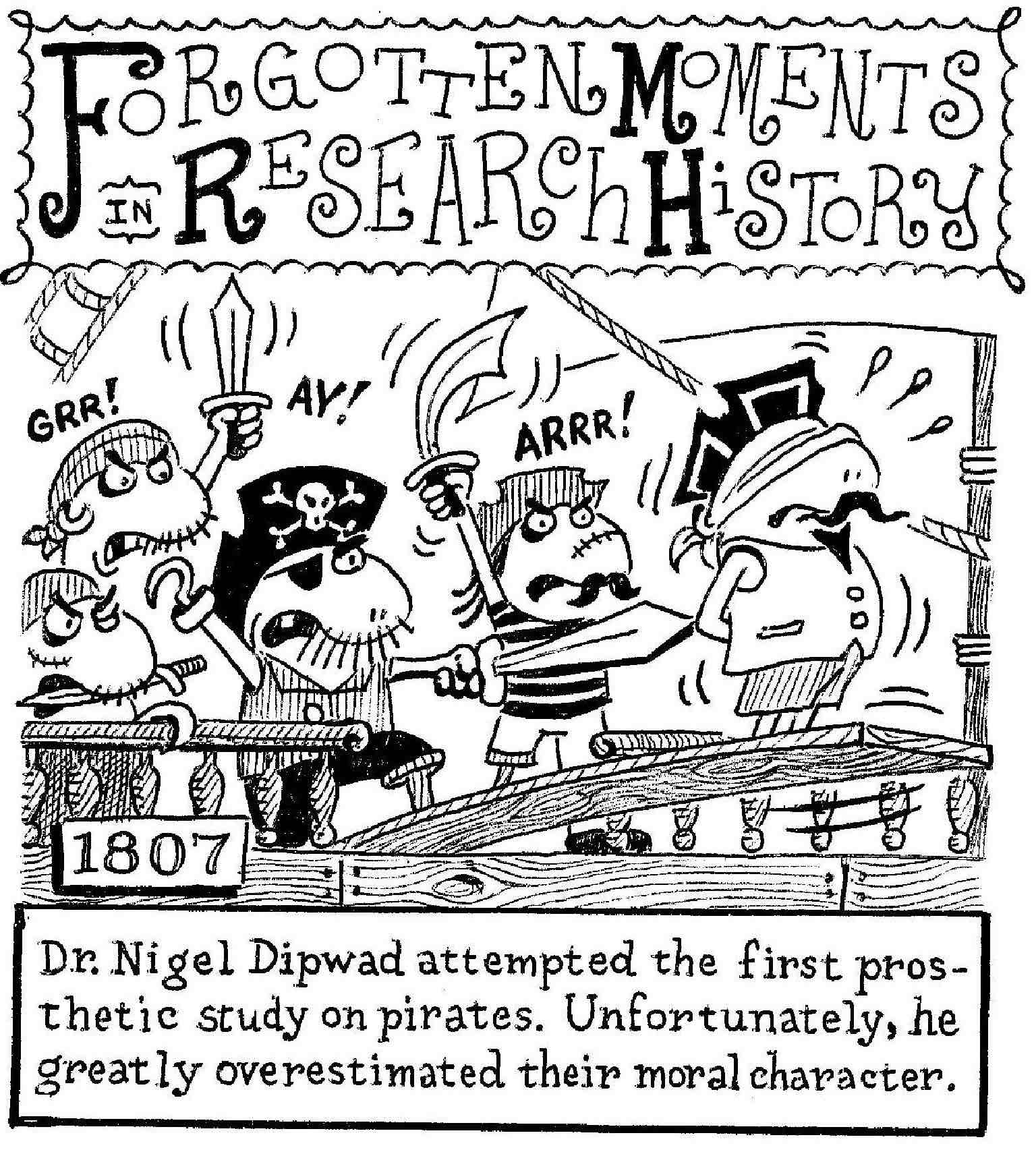 A funny cartoon about pirates forcing a researcher to walk the plank at swordpoint