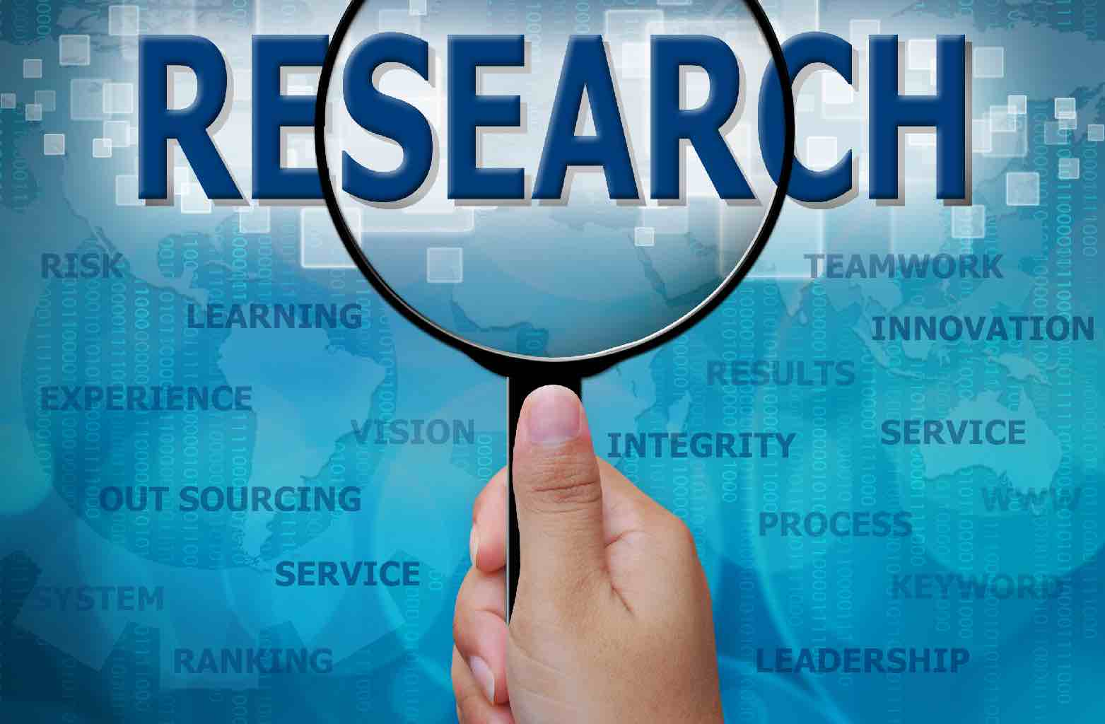 """A hand holding a magnifying glass focussed on the word """"RESEARCH"""" with various related words below it."""