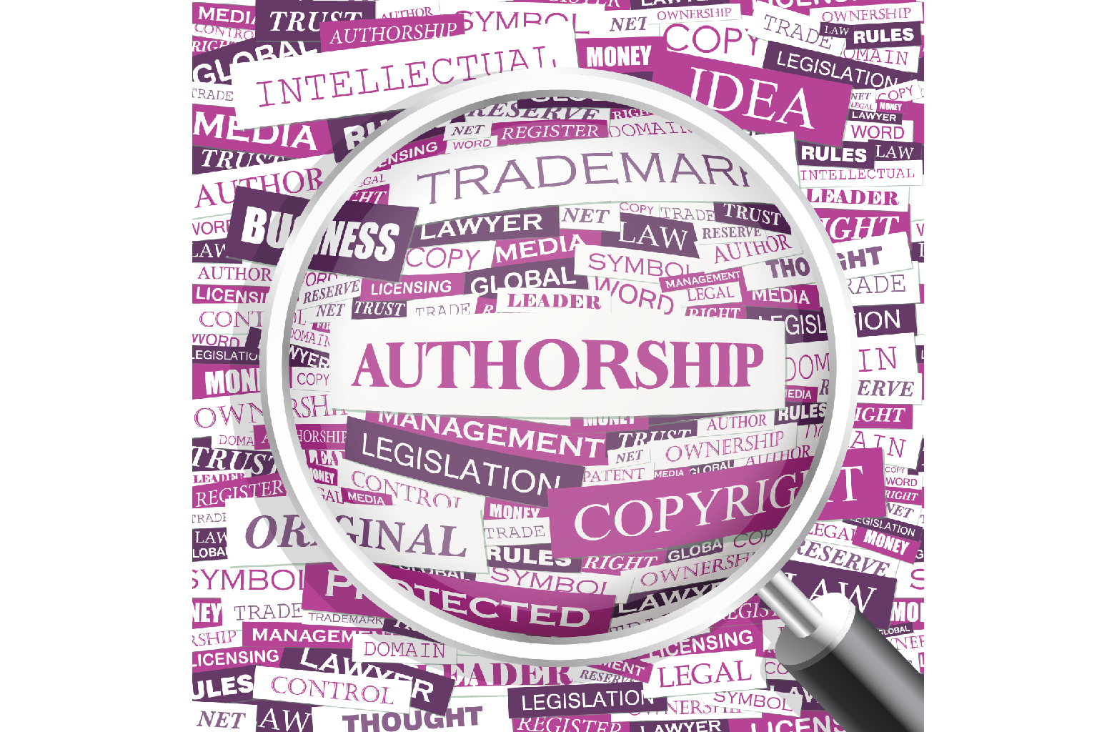 """A magnifying glass focussed on a card named """"AUTHORSHIP"""" with related words on cards around it."""